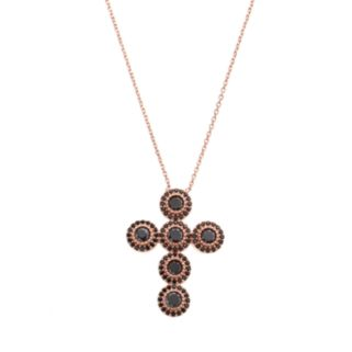 Cubic Zirconia 14k Rose Gold Over Silver Cross Necklace