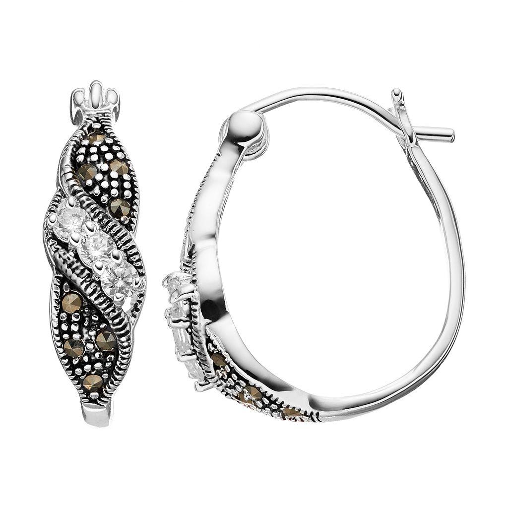 Silver Luxuries Silver-Plated Marcasite & Cubic Zirconia U-Hoop Earrings