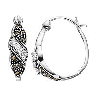 Silver Luxuries Silver-Plated Marcasite & Cubic Zirconia U-Hoop Earrings
