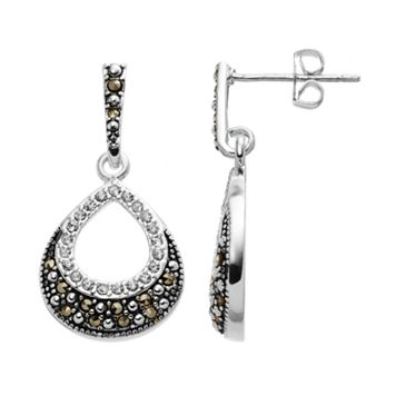 Silver Luxuries Silver-Plated Marcasite & Cubic Zirconia Teardrop Earrings