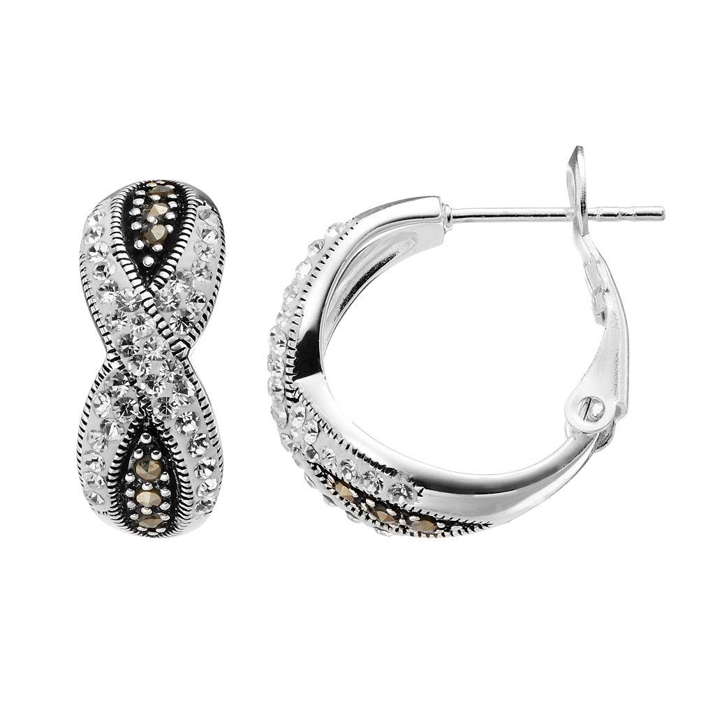 Silver Luxuries Silver-Plated Marcasite & Crystal Crisscross Hoop Earrings