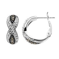 Silver Luxuries Silver-Plated Marcasite & Crystal Crisscross Hoop Earrings