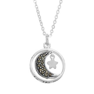 "Silver Luxuries Silver-Plated Marcasite ""I Love You to the Moon and Back"" Pendant"