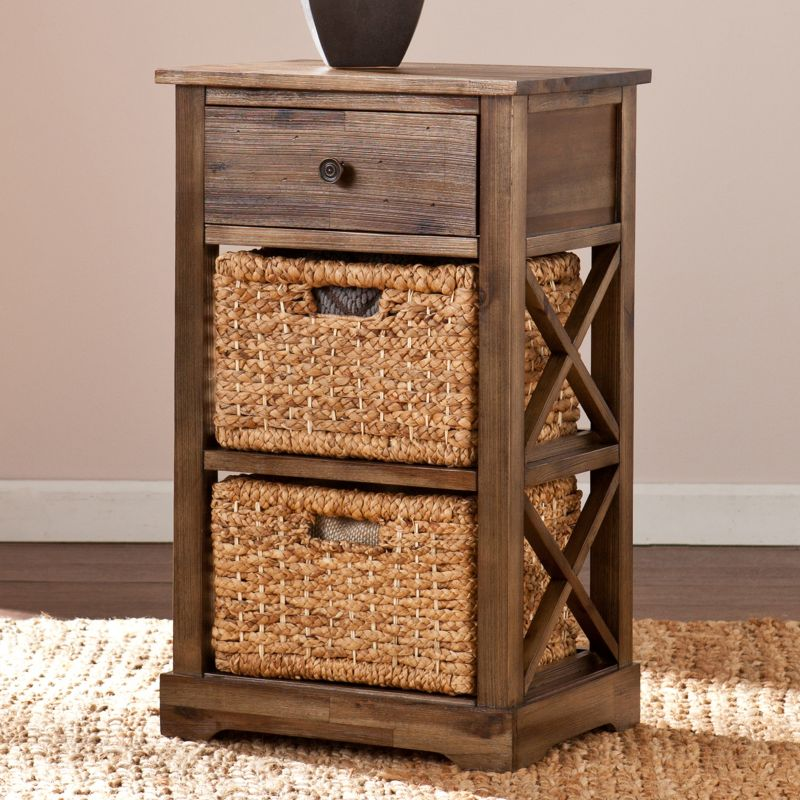 Kivlen 2-Basket Storage End Table, Brown Oth