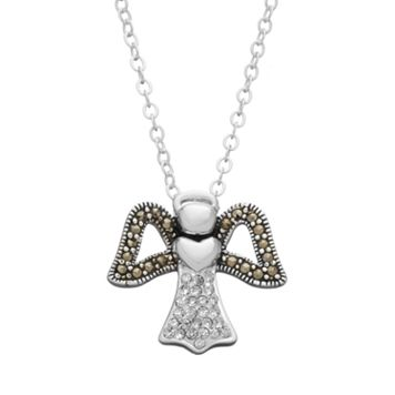 Silver Luxuries Silver-Plated Marcasite & Crystal Angel Pendant