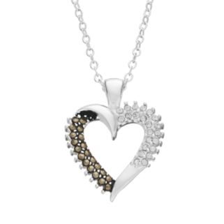 Silver Luxuries Silver-Plated Marcasite & Crystal Heart Pendant