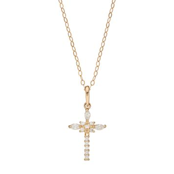 Gold 'N' Ice 10k Gold Cubic Zirconia Cross Pendant Necklace