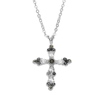 Silver Luxuries Silver-Plated Marcasite & Cubic Zirconia Cross Pendant