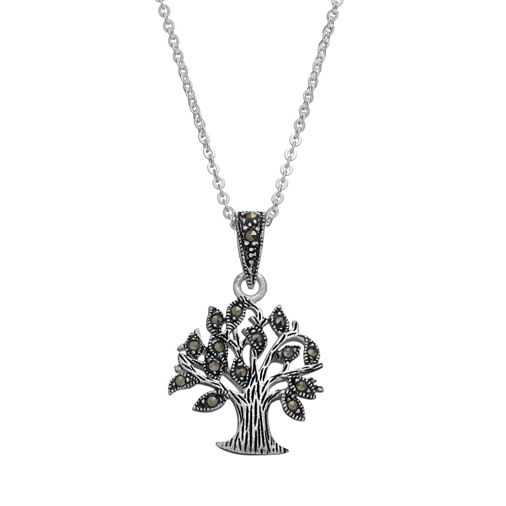 Silver Luxuries Silver-Plated Marcasite Tree Pendant