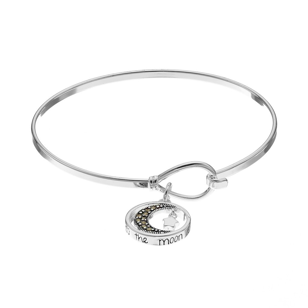 Silver Luxuries Marcasite Moon & Star Charm Bangle Bracelet