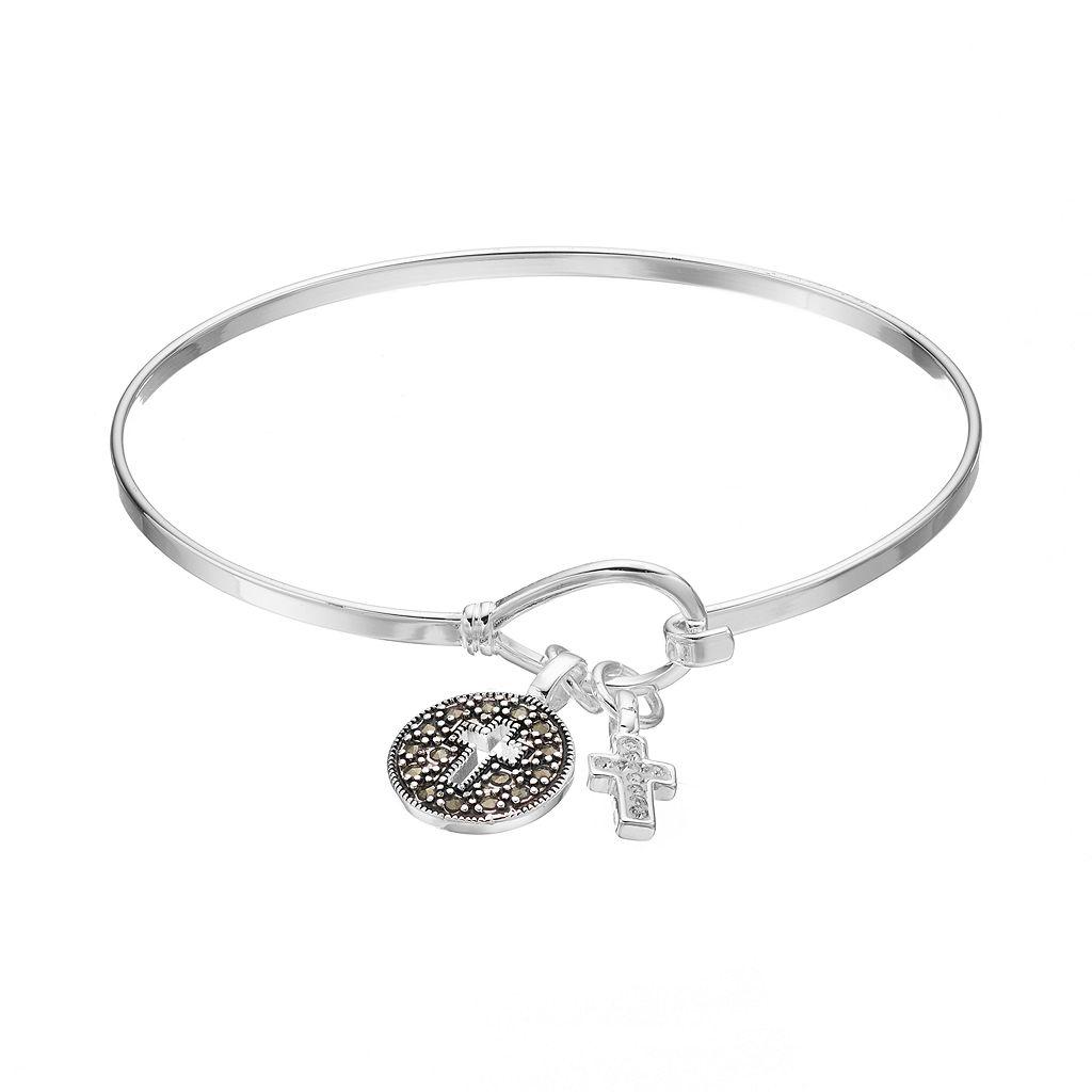 Silver Luxuries Marcasite & Crystal Cross Charm Bangle Bracelet