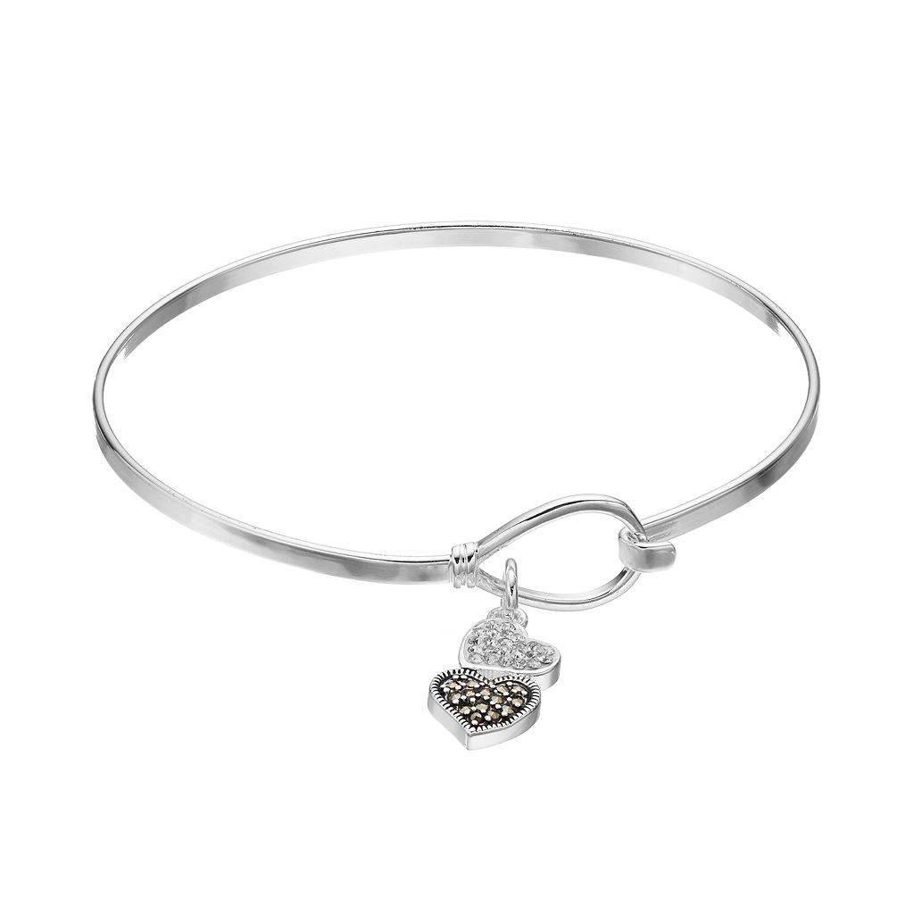 Silver Luxuries Marcasite & Crystal Heart Charm Bangle Bracelet