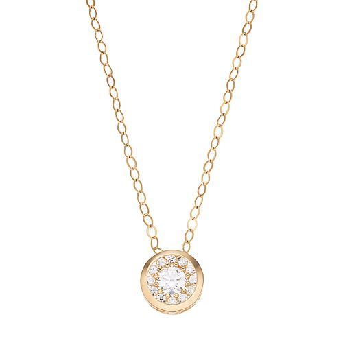 Gold 'N' Ice 10k Gold Cubic Zirconia Halo Pendant Necklace