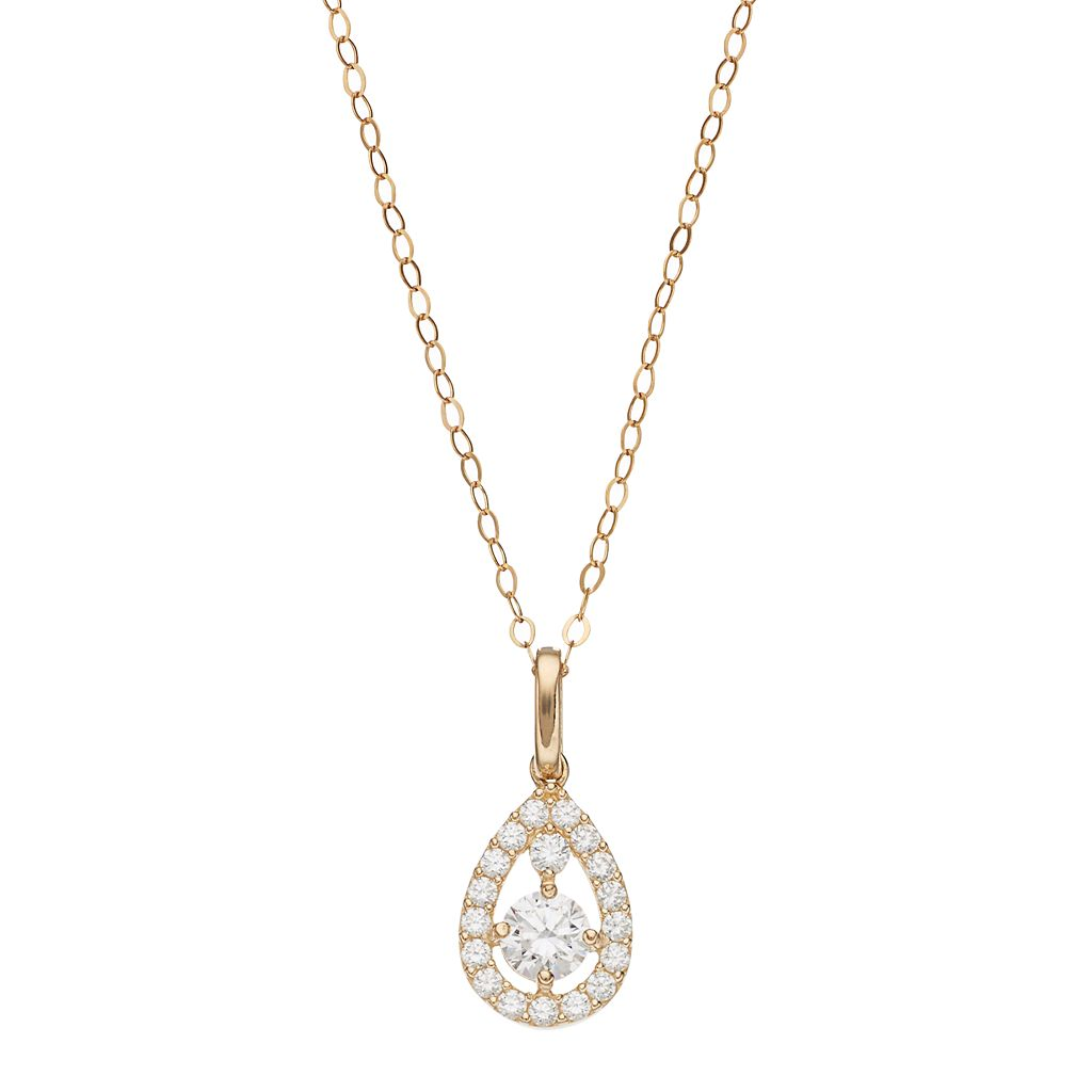 Gold 'N' Ice 10k Gold Cubic Zirconia Teardrop Pendant Necklace