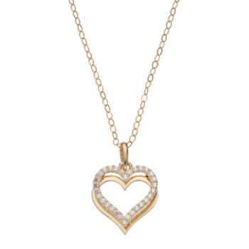 Gold 'N' Ice 10k Gold Cubic Zirconia Heart Pendant Necklace