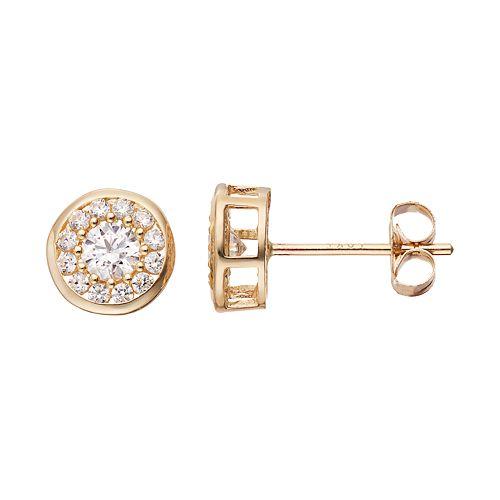Gold 'N' Ice10k Gold Cubic Zirconia Halo Stud Earrings