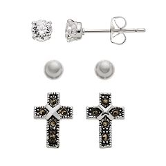 Silver Luxuries Silver-Plated Marcasite & Cubic Zirconia Cross Stud Earring Set