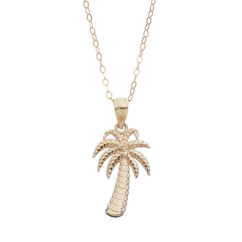 Gold palm tree pendant necklace 10k gold palm tree pendant necklace mozeypictures Choice Image