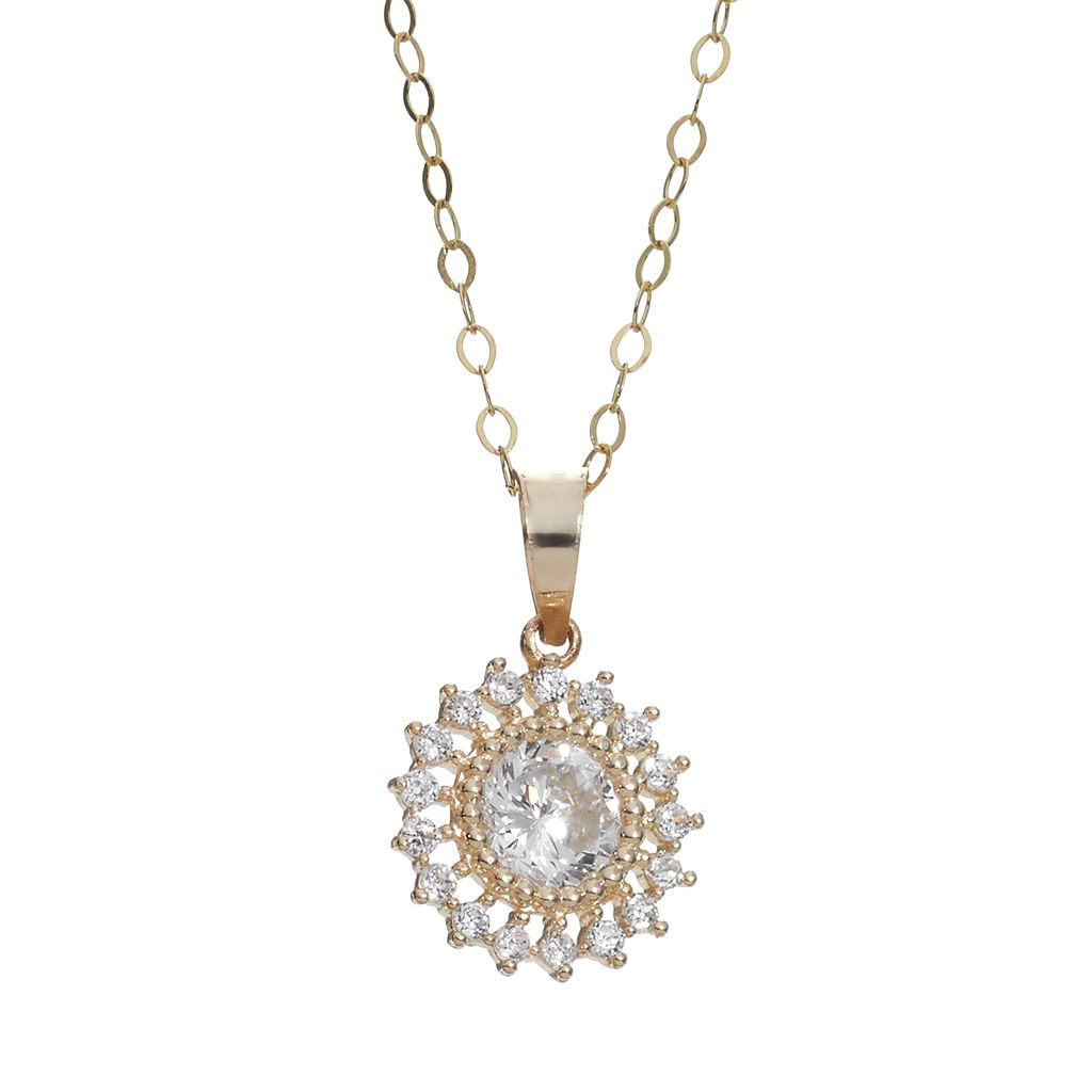 Cubic Zirconia 10k Gold Halo Pendant Necklace
