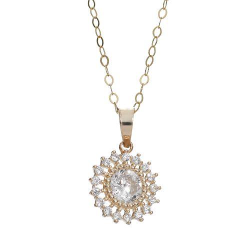 Cubic Zirconia 10k Gold Halo Pendant Necklace