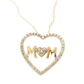 10k Gold Diamond Accent Mom Heart Pendant