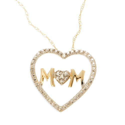 10k Gold Diamond Accent Mom He...