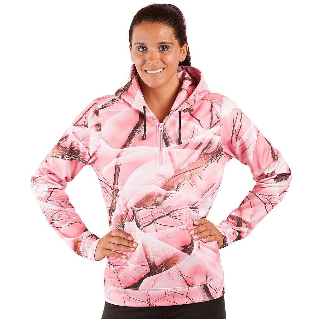 Huntworth Pink Camo Quarter-Zip Fleece Hiking Hoodie - Women's