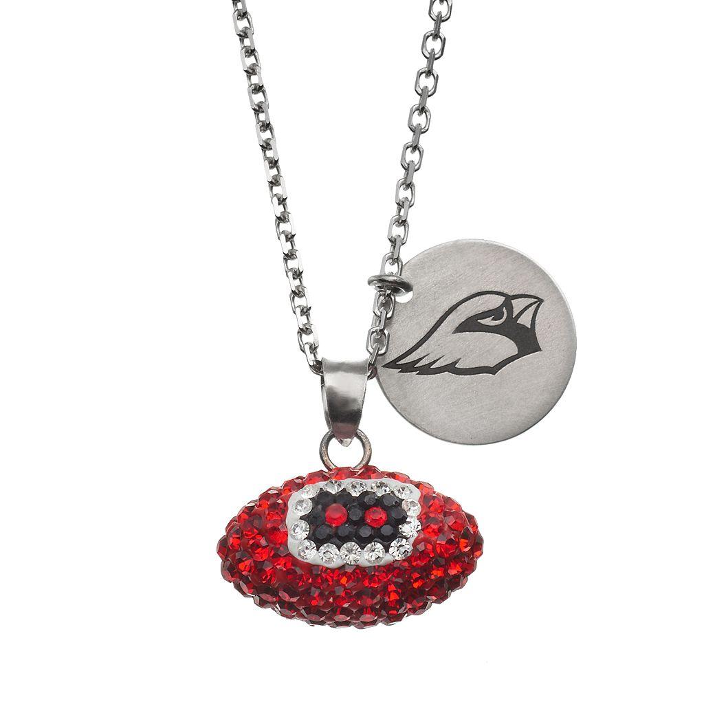 Arizona Cardinals Crystal Sterling Silver Team Logo & Football Charm Necklace