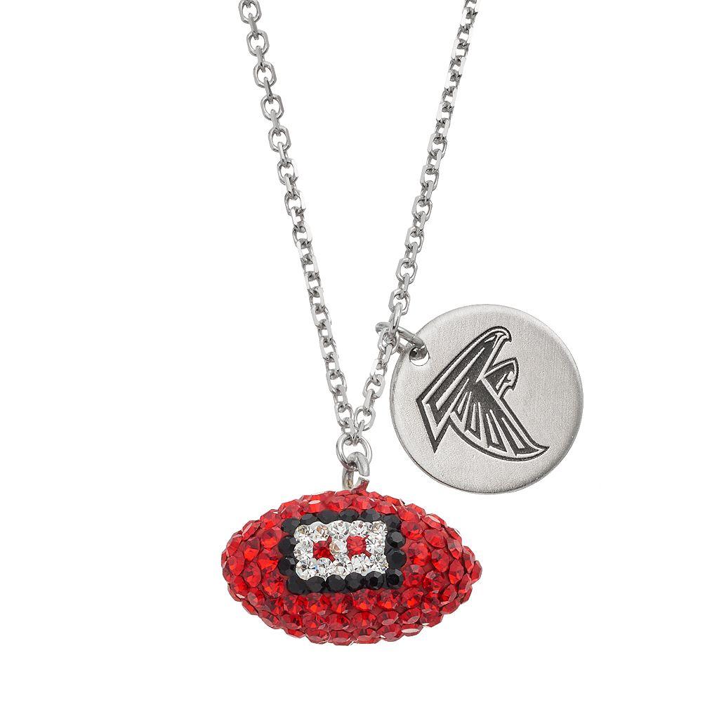 Atlanta Falcons Crystal Sterling Silver Team Logo & Football Charm Necklace