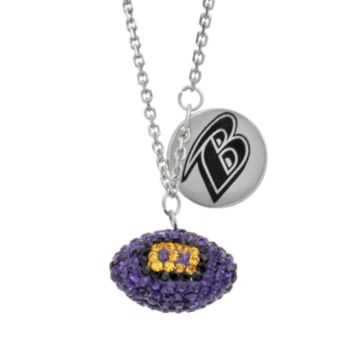 Baltimore Ravens Crystal Sterling Silver Team Logo & Football Charm Necklace