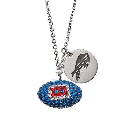 Buffalo Bills Crystal Sterling Silver Team Logo & Football Charm Necklace