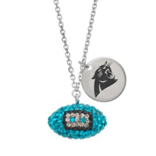 Carolina Panthers Crystal Sterling Silver Team Logo & Football Charm Necklace