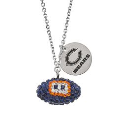 Chicago Bears Crystal Sterling Silver Team Logo & Football Charm Necklace