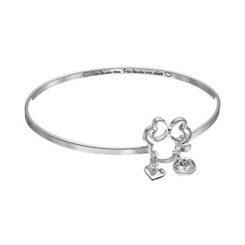 Disney's Minnie Mouse Crystal Charm Bangle Bracelet