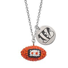 Cincinnati Bengals Crystal Sterling Silver Team Logo & Football Charm Necklace