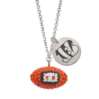 Cincinnati Bengals Crystal Sterling Silver Team Logo & Football Charm Necklace
