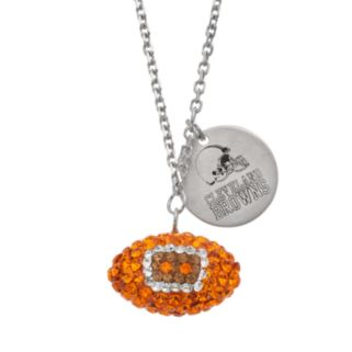 Cleveland Browns Crystal Sterling Silver Team Logo & Football Charm Necklace