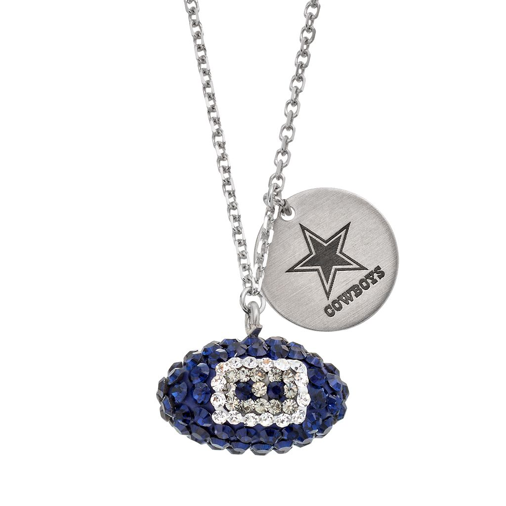 Dallas Cowboys Crystal Sterling Silver Team Logo & Football Charm Necklace