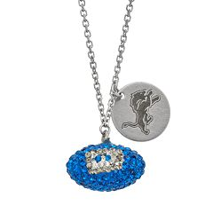 Detroit Lions Crystal Sterling Silver Team Logo & Football Charm Necklace