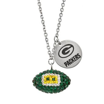 Green Bay Packers Crystal Sterling Silver Team Logo & Football Charm Necklace