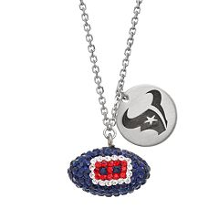 Houston Texans Crystal Sterling Silver Team Logo & Football Charm Necklace