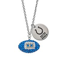 Indianapolis Colts Crystal Sterling Silver Team Logo & Football Charm Necklace