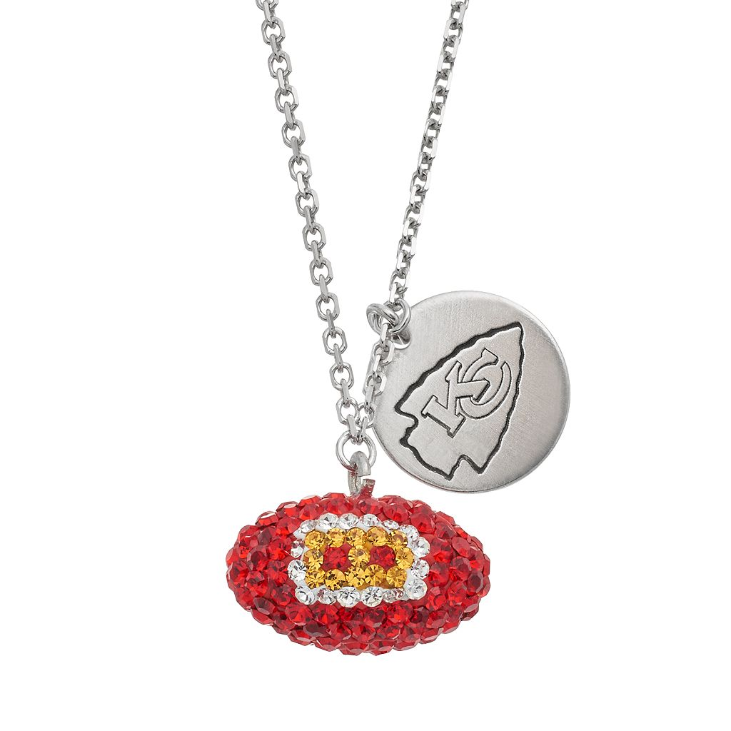 Kansas City Chiefs Crystal Sterling Silver Team Logo & Football Charm Necklace