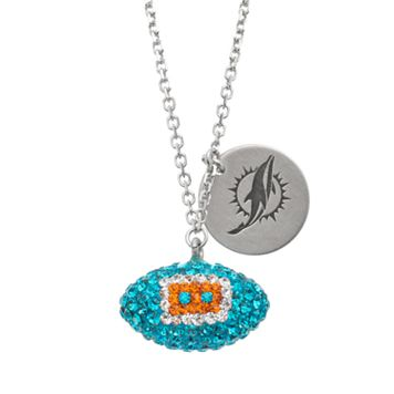 Miami Dolphins Crystal Sterling Silver Team Logo & Football Charm Necklace