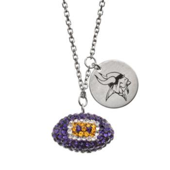 Minnesota Vikings Crystal Sterling Silver Team Logo & Football Charm Necklace