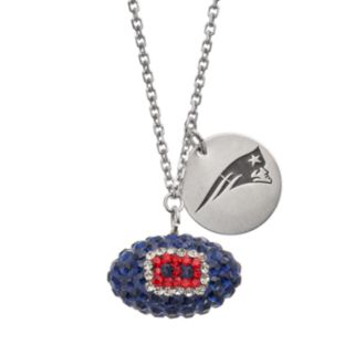 New England Patriots Crystal Sterling Silver Team Logo & Football Charm Necklace
