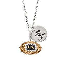 New Orleans Saints Crystal Sterling Silver Team Logo & Football Charm Necklace