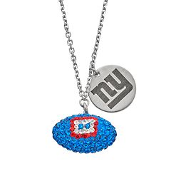 New York Giants Crystal Sterling Silver Team Logo & Football Charm Necklace