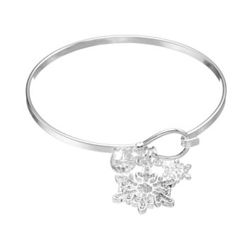 Disney's Frozen Crystal Charm Bangle Bracelet