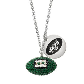 New York Jets Crystal Sterling Silver Team Logo & Football Charm Necklace